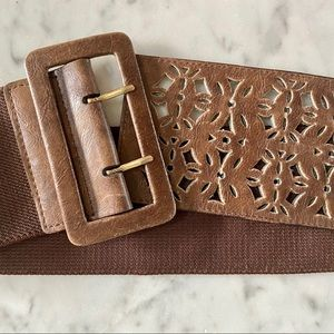 Jessica Simpson leather and elastic wide belt - M